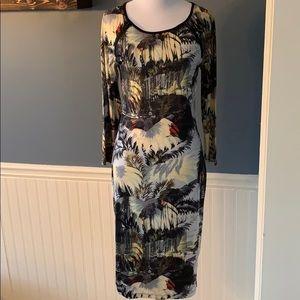 Philosophy Palm Tree City Body Con Jersey Dress S